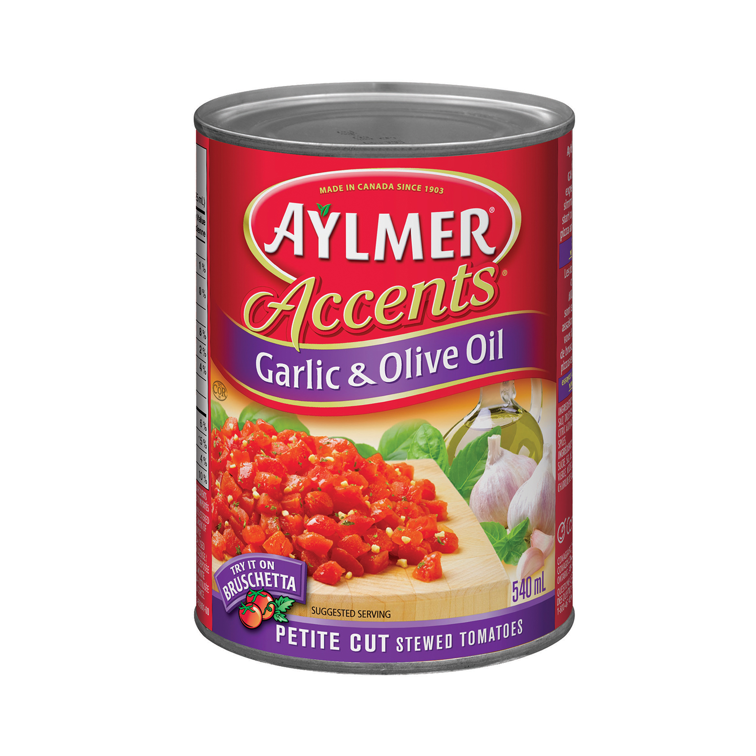 Aylmer Accents Petite CutGarlic and Olive Oil